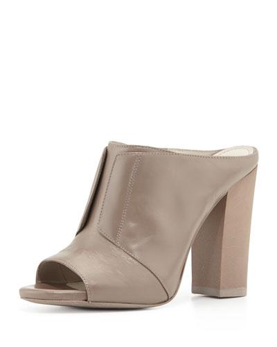 Eva High-Heel Leather Mule, Gray