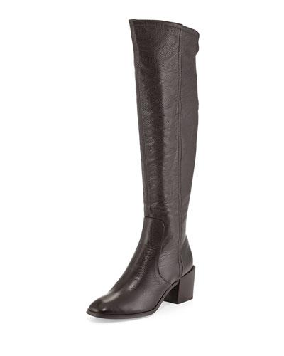 Felicia Pebbled Knee Boot, Brown