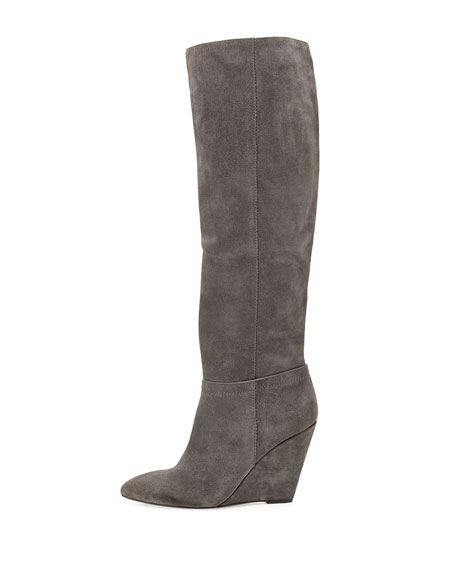 Lucia Suede Wedge Knee Boot, Gray