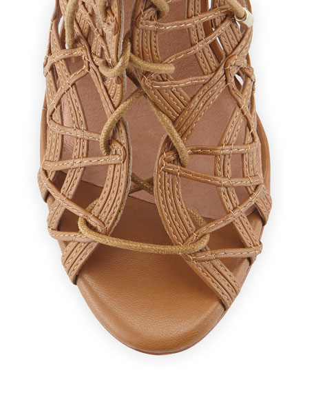Leah Lattice Lace-Up Sandal, Cuio