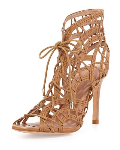 Leah Lattice Lace-Up Sandal, Cuio
