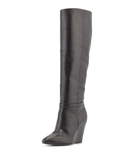 Lucia Leather Wedge Knee Boot, Black