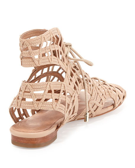 Renee Lace-Up Flat Sandal, Nude