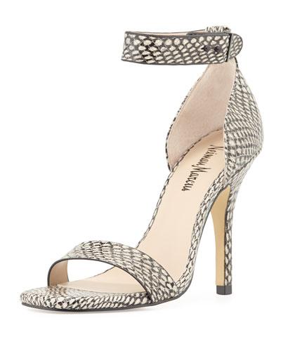 Yani Snake-Print Ankle-Strap Sandal, Marble