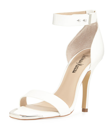 Neiman Marcus Yani Ankle-Strap Sandal, White