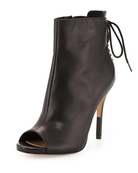 Vanya Leather Peep-Toe Bootie