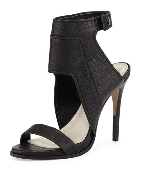 Pour la Victoire Venga Leather Ankle-Wrap Sandal, Black