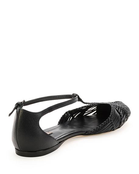 Bottega Veneta Woven Leather T-Strap Ballerina Flat, Prussian Blue