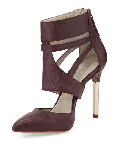 Zanie Point-Toe Cage Pump, Burgundy