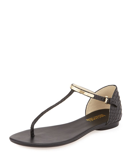 Kristen Snake-Embossed Leather Thong Sandal, Black