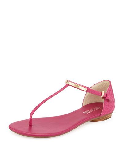 Kristen Snake-Embossed Leather Thong Sandal, Fuchsia
