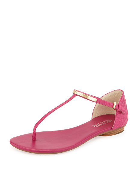 Kristen Snake-Embossed Leather Thong Sandal, Fuchsia