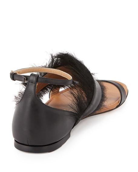 Fur Trimmed Flat Sandal, Nero
