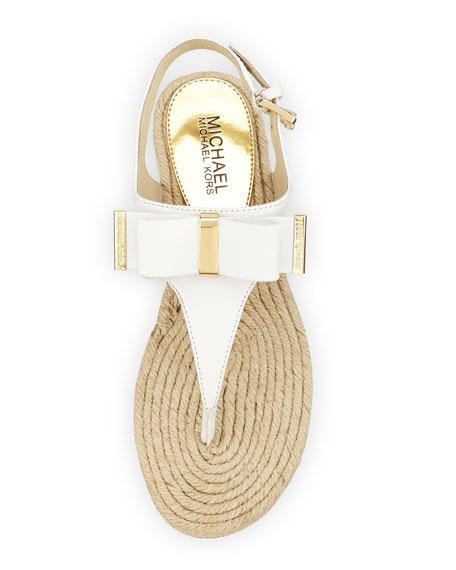 Meg Bow Detail Flat Thong Sandal, White