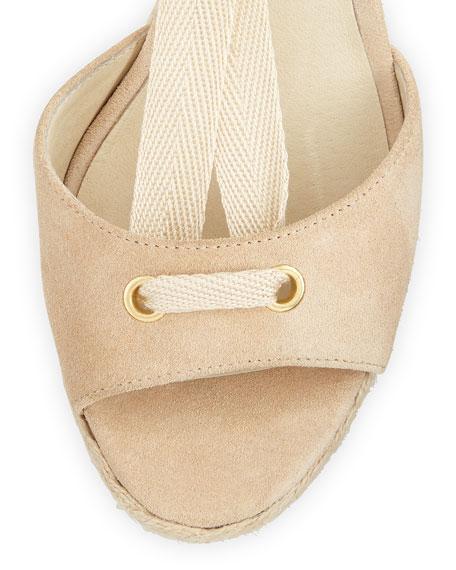 Lilah Suede Wedge Sandal, Bone