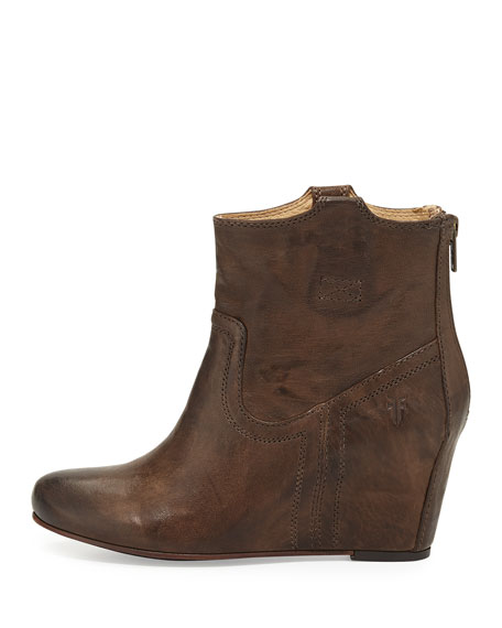 Carson Leather Wedge Bootie, Taupe