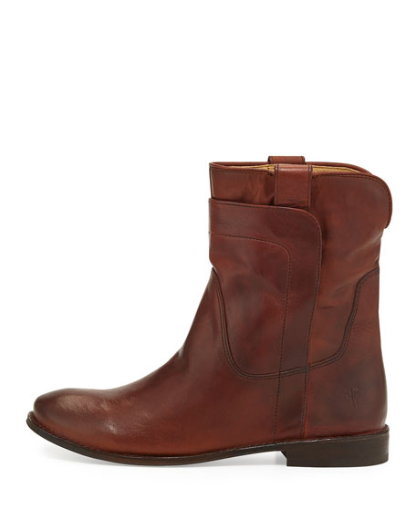 Paige Leather Short Boot, Redwood