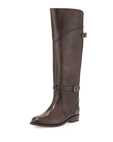 Frye Dorado Polished Leather Riding Boot, Dark Gray