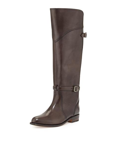 Frye Dorado Polished Leather Riding Boot, Dark Gray