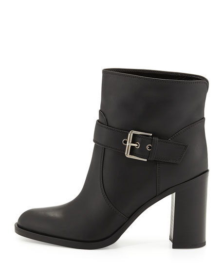 Belted Leather Bootie, Black
