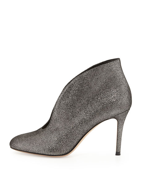 Metallic V-Neck Ankle Bootie, Silver