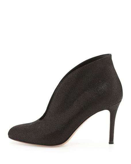 Metallic V-Neck Ankle Bootie, Black