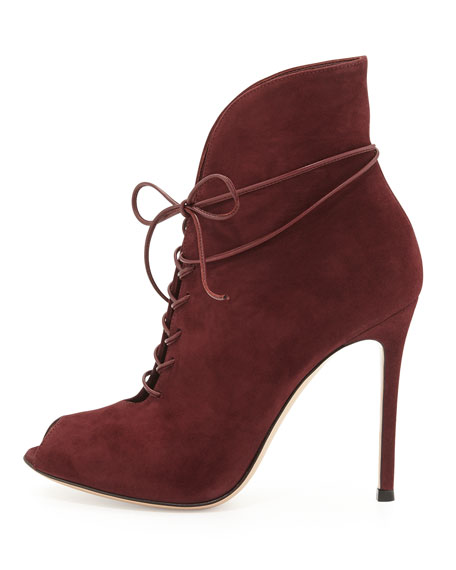 Suede Peep-Toe Lace-Up Bootie, Burgundy