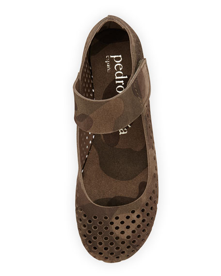 Ylenia Camo-Print Perforated Mary Jane Flat