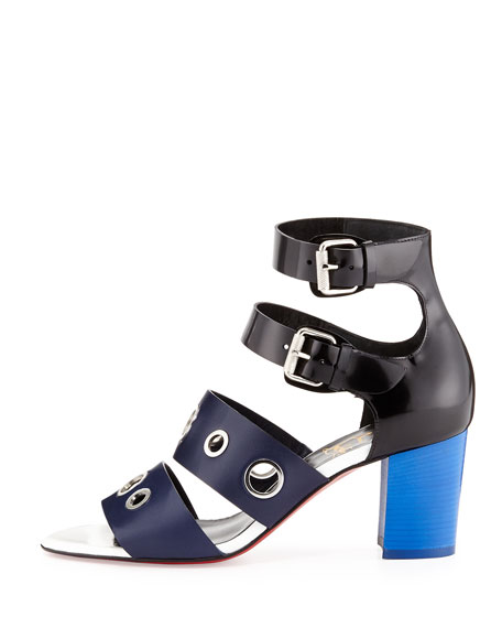 christian louboutin leather scuba sandal navy
