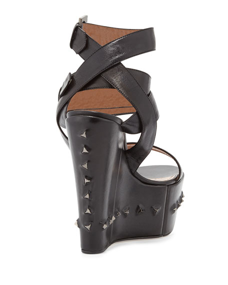 Nelly Crisscross Ankle-Wrap Flex Wedge Sandal, Black