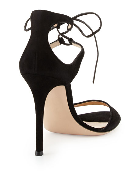 Darcy Suede Ankle-Tie Sandal, Black