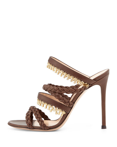 Beaded Leather Strappy Mule Sandal, Java