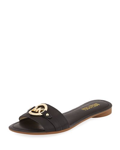 Molly Leather Slide, Black