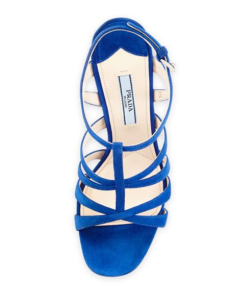 Suede Crisscross Suede Sandal, Bluette