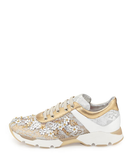 Metallic Floral Lace-Up Sneaker, Metallic/White