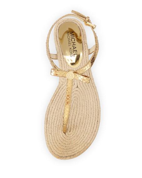 Josie Metallic Snake-Embossed Sandal, Pale Gold