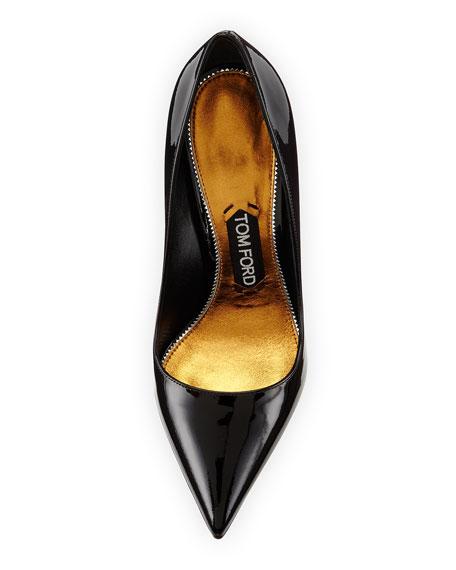 Patent Leather Pin Heel Pump, Black