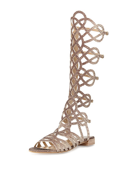Aphrodite Snake-Embossed Gladiator Sandal, Taupe
