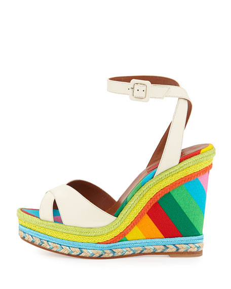 Leather Rainbow Wedge Sandal, Ivory