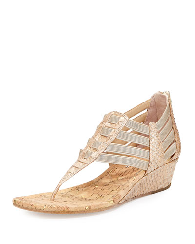 Deena Stretch Low-Wedge Sandal, Platino