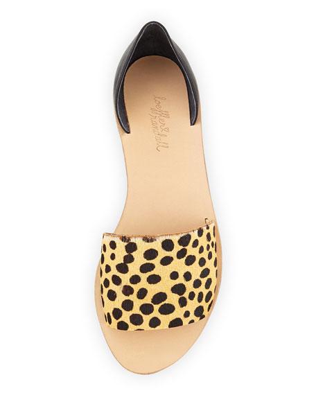 Sawyer Leopard-Print Calf-Hair Flat, Brown