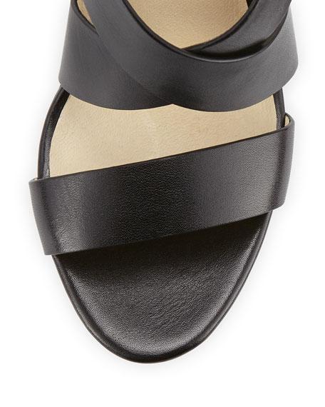 Elena Leather Wedge Sandal, Black