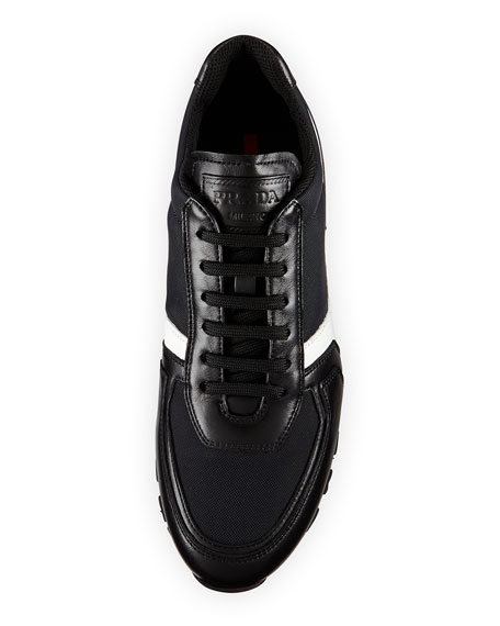 Leather & Nylon Trainer, Black