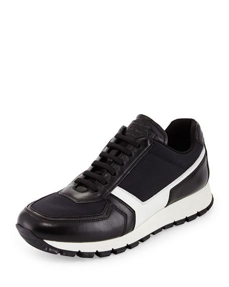 Leather & Nylon Trainer, Black