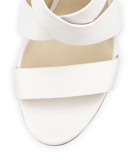 Elena Leather Wedge Sandal, Optic White