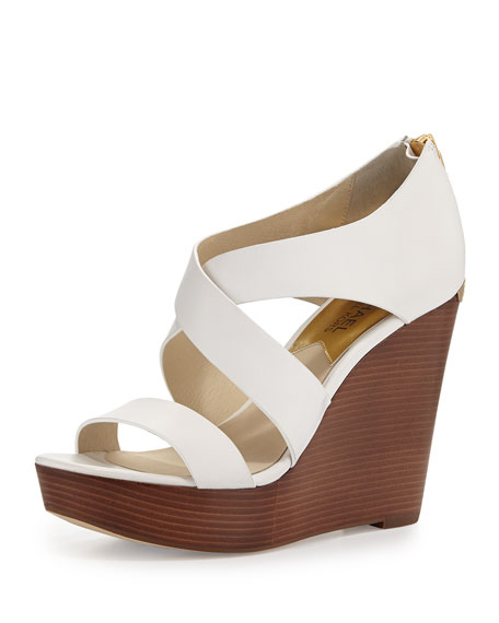 MICHAEL Michael Kors Elena Leather Wedge Sandal, Optic White
