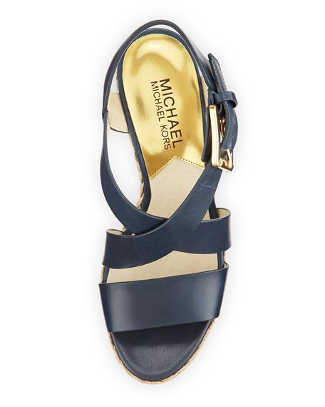 Giovanna Leather Espadrille Wedge, Navy