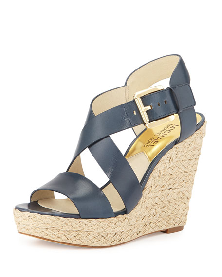 Giovanna Leather Espadrille Wedge, Navy