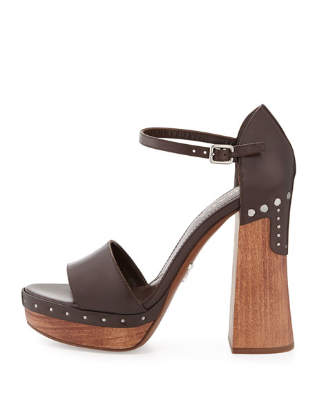 Leather Ankle-Wrap Clog-Bottom Sandal, Caffe
