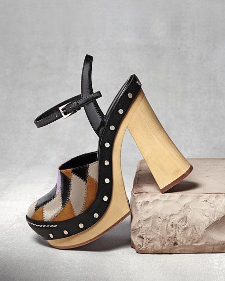 Patchwork Ankle-Strap Clog, Campanula